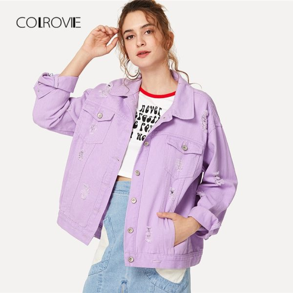 COLROVIE Ripped Drop Shoulder Women Denim Jackets Black White Oversize Purple Casual Female Jacket Coat Chic COLROVIE Ripped Drop Shoulder Women Denim Jackets Black White Oversize Purple Casual Female Jacket Coat Chic Jacket for Girls