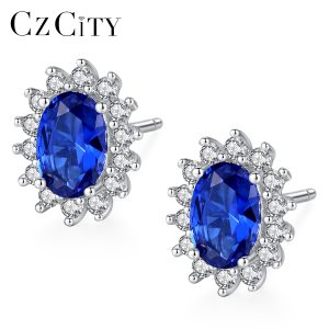 CZCITY New Natural Birthstone Royal Blue Oval Topaz Stud Earrings With Solid 925 Sterling Silver Fine Innrech Market.com