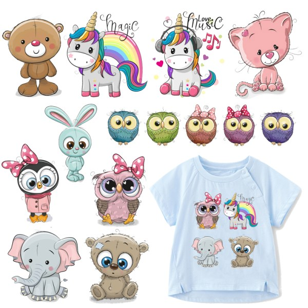 Cute Animal Patches Set Iron on Transfer Unicorn Owl Cat Dog Patches for Girl Kids Clothing Cute Animal Patches Set Iron on Transfer Unicorn Owl Cat Dog Patches for Girl Kids Clothing DIY Heat Transfer Vinyl Stickers