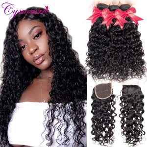 Cynosure Human Hair Water Wave Bundles with Closure Double Weft Brazilian Hair Weave 3 Bundles With Innrech Market.com