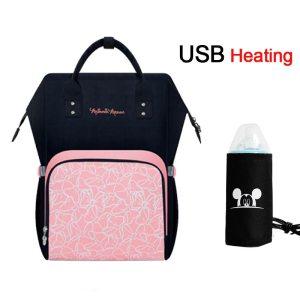 Disney USB Heating Diaper Bag Maternity Nappy Backpack Large Capacity Nursing Travel Backpack Heat Preservation Innrech Market.com