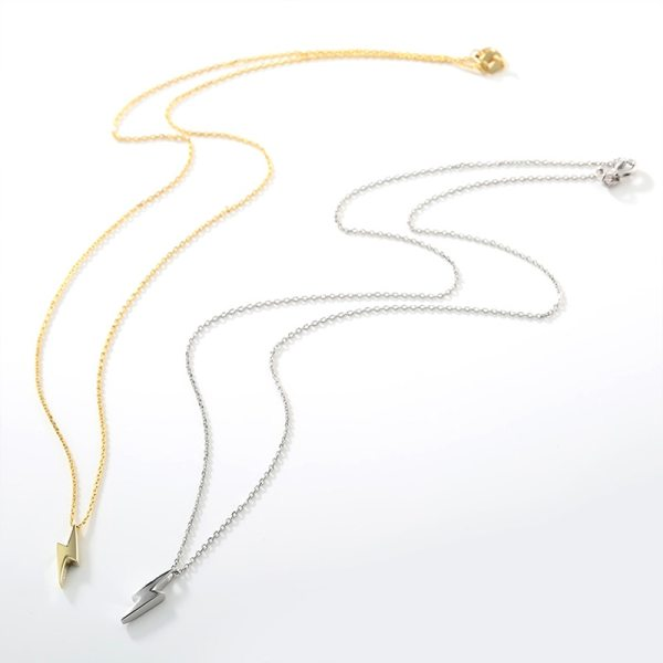 Dorado 925 Sterling Silver Necklaces Golden Silver Lightning Pendant Necklaces Fine Jewelry Gift Birthday For Women 2 Dorado 925 Sterling Silver Necklaces Golden Silver Lightning Pendant Necklaces Fine Jewelry Gift Birthday  For Women