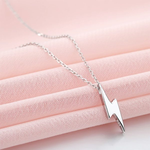 Dorado 925 Sterling Silver Necklaces Golden Silver Lightning Pendant Necklaces Fine Jewelry Gift Birthday For Women 5 Dorado 925 Sterling Silver Necklaces Golden Silver Lightning Pendant Necklaces Fine Jewelry Gift Birthday  For Women