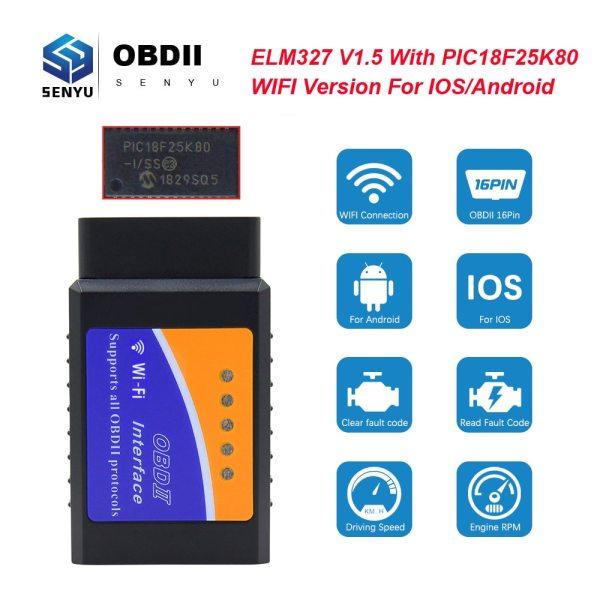 ELM327 V1 5 PIC18F25K80 OBD2 WIFI Scanner ELM327 WI FI OBDII elm 327 V1 5 OBD 1 ELM327 V1.5 PIC18F25K80 OBD2 WIFI Scanner ELM327 WI-FI OBDII elm 327 V1.5 OBD 2 OBD2 Car Diagnostic Auto Tool ODB2 Code Reader