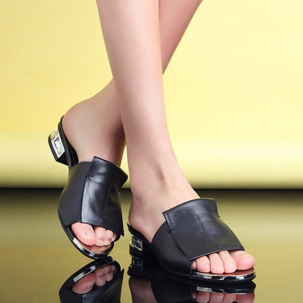 FEDONAS 2019 New Women Summer High Quality Square High Heels Pumps Genuine Leather Shoes Woman Sandals 3 FEDONAS 2019 New Women Summer High Quality Square High Heels Pumps Genuine Leather Shoes Woman Sandals Open Toe Ladies Slippers