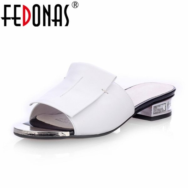 FEDONAS 2019 New Women Summer High Quality Square High Heels Pumps Genuine Leather Shoes Woman Sandals FEDONAS 2019 New Women Summer High Quality Square High Heels Pumps Genuine Leather Shoes Woman Sandals Open Toe Ladies Slippers