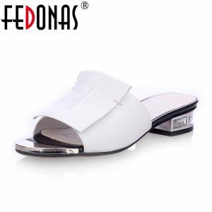 FEDONAS 2019 New Women Summer High Quality Square High Heels Pumps Genuine Leather Shoes Woman Sandals Innrech Market.com