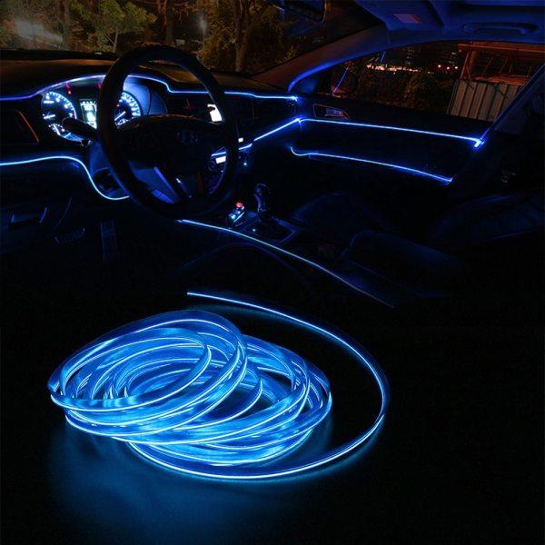 FORAUTO 5 Meters Car Interior Lighting Auto LED Strip EL Wire Rope Auto Atmosphere Decorative Lamp FORAUTO 5 Meters Car Interior Lighting Auto LED Strip EL Wire Rope Auto Atmosphere Decorative Lamp Flexible Neon Light DIY