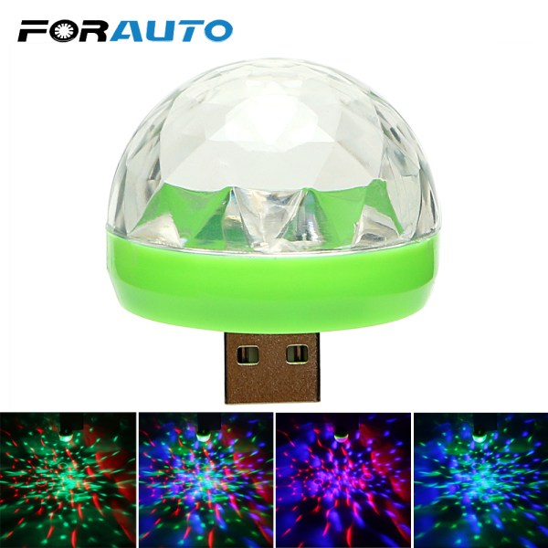 FORAUTO Car LED Decorative Lamp Mini RGB Atmosphere Light Auto Interior LED USB Club Disco Magic FORAUTO Car LED Decorative Lamp Mini RGB Atmosphere Light Auto Interior LED USB Club Disco Magic Stage Effect Lights Car Styling