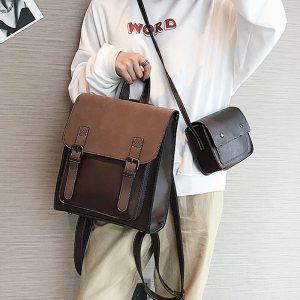 Fashion 2 PCS SET Leather Women Backpacks for Teenagers female Back Pack Large Capacity Pu Travelling Innrech Market.com