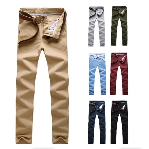 Fashion Men Business Casual Pants Cotton Slim Straight Trousers Spring Summer Long Pants MX8 4 Fashion Men Business Casual Pants Cotton Slim Straight Trousers Spring Summer Long Pants -MX8