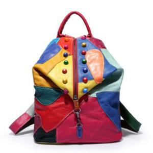 Fashion backpack leather stitching retro ladies backpack in Europe and America Innrech Market.com