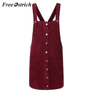 Free Ostrich 2019 Pink Wick Velvet Women Corduroy Straight Suspender Mini Bib Overall Pinafore Casual Button Innrech Market.com