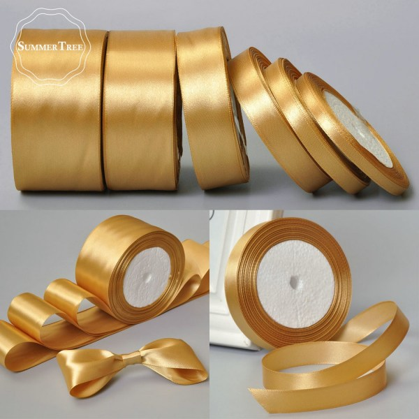 Gold 25yards 6mm 10mm 15mm 25mm 38mm 50mm Satin Ribbon Sash Gift Bow Handmade DIY Craft Gold 25yards 6mm 10mm 15mm 25mm 38mm 50mm Satin Ribbon Sash Gift Bow Handmade DIY Craft Wedding Party Supply Banquet Decoration