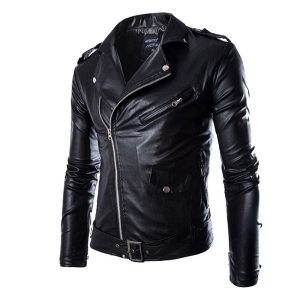 HEFLASHOR Autumn Men Fashion Motorcycle Leather Jacket slim fit Coats Male Casaco Masculino Casual Zipper Black Innrech Market.com