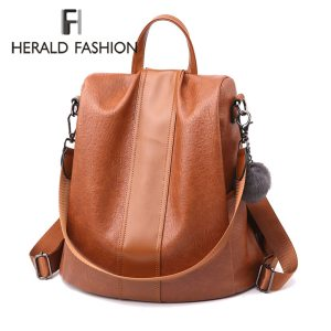 HERALD FASHION Quality Leather Anti thief Women Backpack Large Capacity Hair Ball School Bag for Teenager Innrech Market.com
