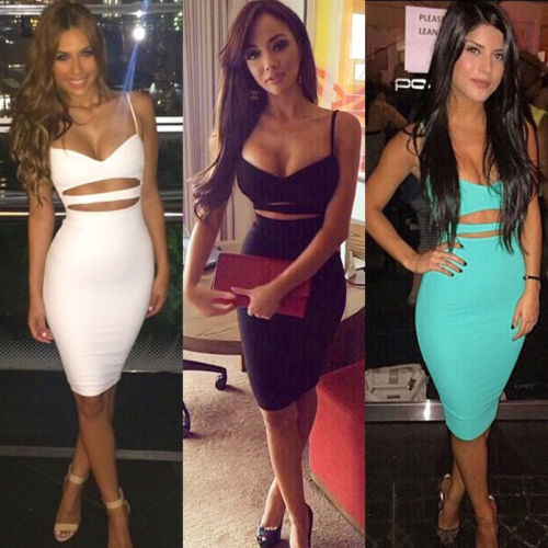 Hot Sexy Women Summer Slim Bodycon Hollow Out Skinny Sleeveless Evening Party Club Solid Strappy V Hot Sexy Women Summer Slim Bodycon Hollow Out Skinny Sleeveless Evening Party Club Solid Strappy V-Neck Short Mini Dress