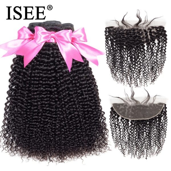 ISEE HAIR Mongolian Kinky Curly Bundles With Frontal 13 4 Lace Frontal With Bundles Remy Human ISEE HAIR Mongolian Kinky Curly Bundles With Frontal 13*4 Lace Frontal With Bundles Remy Human Hair Bundles With Frontal