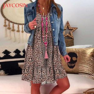 JAYCOSIN plus size dress women summer dress Loose Ladies dresses woman Leopard Print Long Sleeve Dress Innrech Market.com