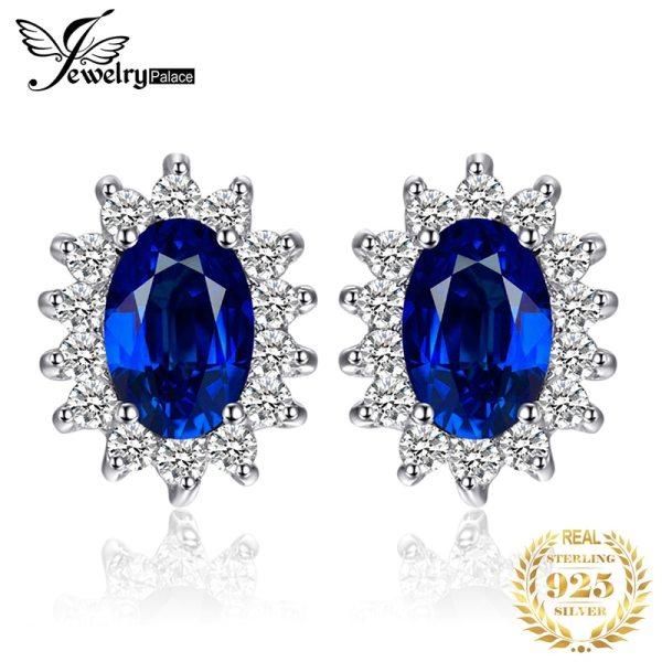 JPalace Diana Created Blue Sapphire Stud Earrings 925 Sterling Silver Earrings For Women Korean Earings Fashion JPalace Diana Created Blue Sapphire Stud Earrings 925 Sterling Silver Earrings For Women Korean Earings Fashion Jewelry 2019