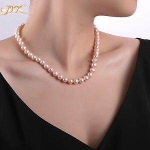 JYX Updated Genuine Purple Pink 8 9mm Real Round Cultured Freshwater Pearl Necklace 18 mother gift Innrech Market.com