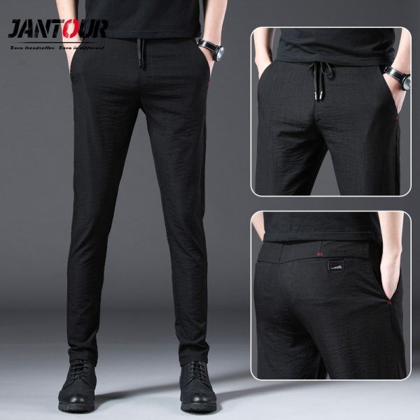 Jantour 2019 Fashion Men Pants Slim Fit Spring summer High Quality Business Flat Classic Full Length 1 Jantour 2019 Fashion Men Pants Slim Fit Spring summer High Quality Business Flat Classic Full Length thin Casual Trousers male