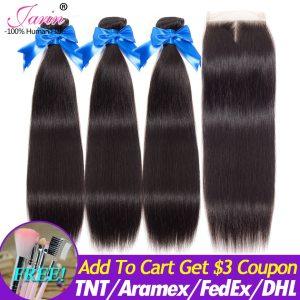 Jarin Peruvian Straight Human Hair 3 Bundles With Closure Natural Color Hair Weave Bundles Deal Innrech Market.com