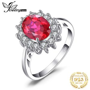 JewPalace Princess Diana Created Red Ruby Ring 925 Sterling Silver Rings for Women Engagement Ring Silver Innrech Market.com