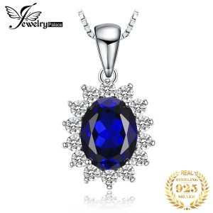 JewelryPalace Created Sapphire Pendant Necklace 925 Sterling Silver Gemstones Choker Statement Necklace Women Without Chain Innrech Market.com