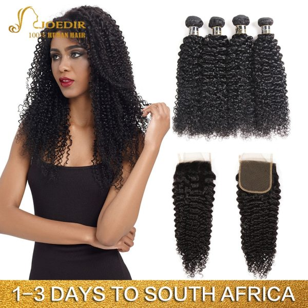 Joedir Hair Brazilian Afro Kinky Curly Human Hair Weave Non Remy Hair Extensions Bundles With Closure Joedir Hair Brazilian Afro Kinky Curly Human Hair Weave Non Remy Hair Extensions Bundles With Closure 3 4 Bundles With Closure