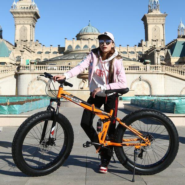 KUBEEN Mountain Bike Super WideTire Bike Snowmobile ATV 26 4 0 Bicycle 7 21 24 27 1 KUBEEN Mountain Bike Super WideTire Bike Snowmobile ATV 26 * 4.0 Bicycle 7/21/24/27 Speed Shock Absorbers Bike