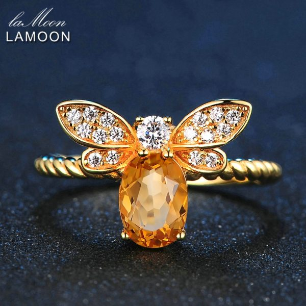 LAMOON Cute Bee 925 Sterling Silver Ring 1ct Natural Citrine Gemstones Jewelry 14K Gold Plated Rings LAMOON Cute Bee 925 Sterling Silver Ring 1ct Natural Citrine Gemstones Jewelry 14K Gold Plated Rings For Women Jewellery LMRI019