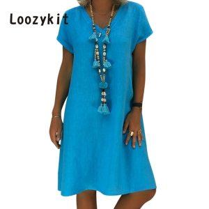 LOOZYKIT 2019 Women Summer Short Sleeve Solid Color Dress Fashion Sexy V Neck Beach Dress Female Innrech Market.com