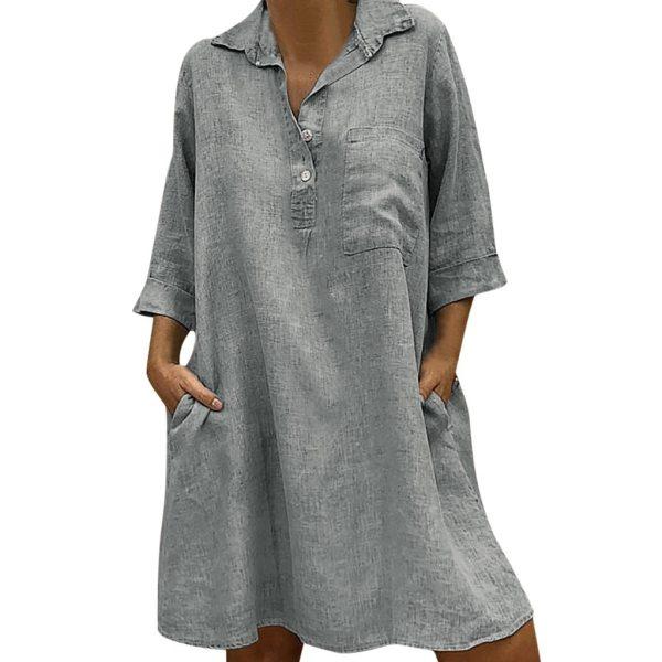 Large Plus Size Best Sale 2019 Women s Solid Boho Turn down Collar Dress 3 4 2 Large Plus Size !!Best Sale 2019 Women's Solid Boho Turn-down Collar Dress 3/4 Sleeve Casual Pocket Button Dress Vestido @6
