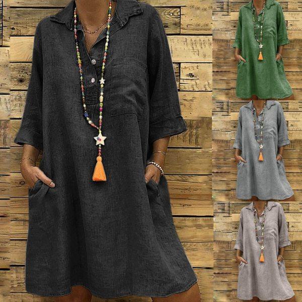 Large Plus Size Best Sale 2019 Women s Solid Boho Turn down Collar Dress 3 4 Large Plus Size !!Best Sale 2019 Women's Solid Boho Turn-down Collar Dress 3/4 Sleeve Casual Pocket Button Dress Vestido @6