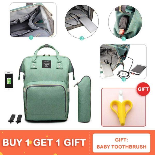 Lequeen USB Mummy Maternity Nappy Bag Brand Large Capacity Baby Bag Travel Backpack Designer Nursing Bag 1 Lequeen USB Mummy Maternity Nappy Bag Brand Large Capacity Baby Bag Travel Backpack Designer Nursing Bag for Baby Care