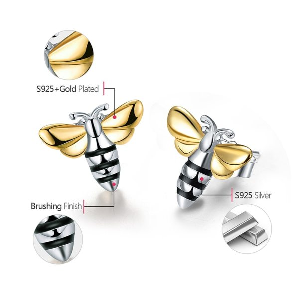 Lotus Fun Real 925 Sterling Silver Earrings Designer Fine Jewelry Lovely 18K Gold Honey Bee Stud 5 Lotus Fun Real 925 Sterling Silver Earrings Designer Fine Jewelry Lovely 18K Gold Honey Bee Stud Earrings for Women Gift Brincos