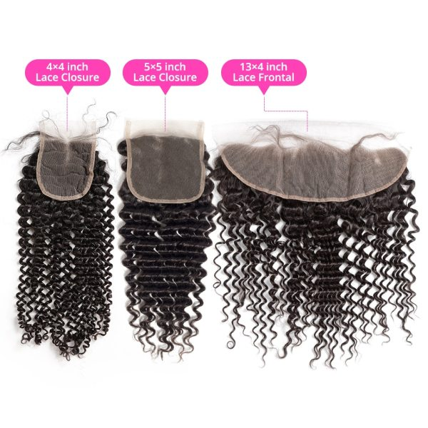 Luvin Deep Wave 28 30 inch 3 4 Bundles With 5x5 Lace Closure and 13x4 Frontal 2 Luvin Deep Wave 28 30 inch 3 4 Bundles With 5x5 Lace Closure and 13x4 Frontal Brazilian Human Hair Weave Curly Remy Water Wave