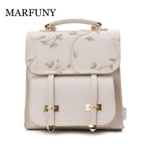 MARFUNY Fashion School Backpack Teenage Girls High Quality Leather Women Shoulder Bag Backpack Floral Embroidery Design Innrech Market.com