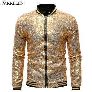 Mens Shiny Gold Sequin Jackets and Coats 2019 Brand New Sequins Baseball Jacket Men Club DJ Innrech Market.com