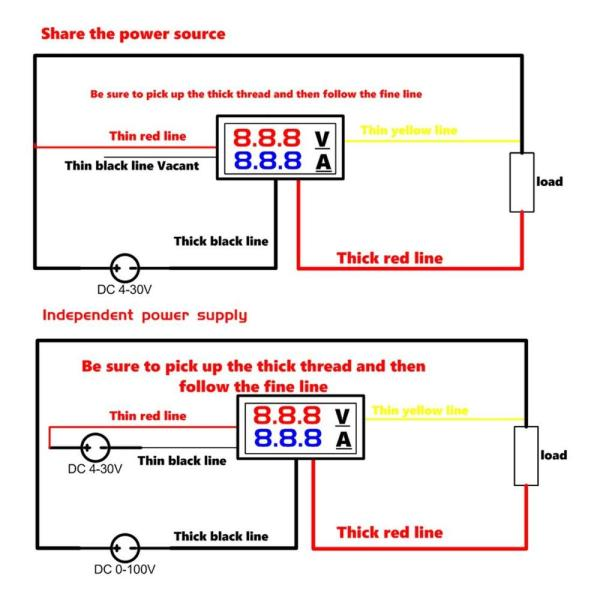 """Mini Digital Voltmeter Ammeter DC 100V 10A Panel Amp Volt Voltage Current Meter Tester Detector 0 5 Mini Digital Voltmeter Ammeter DC 100V 10A Panel Amp Volt Voltage Current Meter Tester Detector 0.56"""" Dual LED Display Auto Car"""