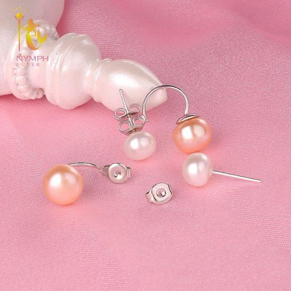 NYMPH Double Pearl Earrings For Women Pearl Jewelry Natural Freshwater Pearl Stud Earrings 925 Silver 2 [NYMPH] Double Pearl Earrings For Women Pearl Jewelry Natural Freshwater Pearl Stud Earrings 925 Silver Fine Jewelry E205F