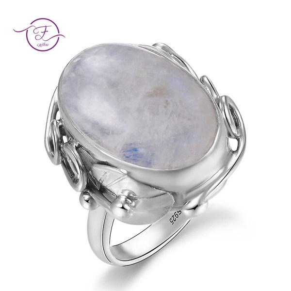 Natural Moonstone rings For Men Women s 925 Sterling Silver Jewelry Ring With Big Stones Natural Moonstone rings For Men Women's 925 Sterling Silver Jewelry Ring With Big Stones 11x17MM Oval Gemstones Gifts Wholesale