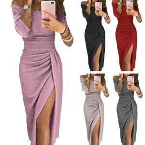 New Evening Party Sexy Women Off Shoulder High Split 3 4 Sleeve Bodycon Maxi Dress 2 Innrech Market.com