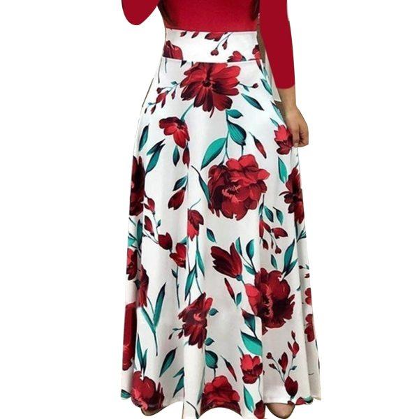 New Summer Flower Dot Print Color Matching Long Sleeve High Waist Women Maxi Dress 3 New Summer Flower Dot Print Color Matching Long Sleeve High Waist Women Maxi Dress