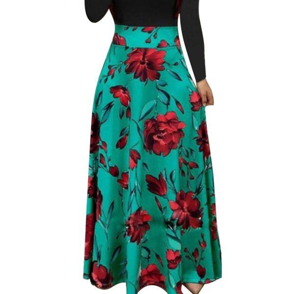 New Summer Flower Dot Print Color Matching Long Sleeve High Waist Women Maxi Dress 4 New Summer Flower Dot Print Color Matching Long Sleeve High Waist Women Maxi Dress