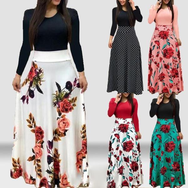 New Summer Flower Dot Print Color Matching Long Sleeve High Waist Women Maxi Dress New Summer Flower Dot Print Color Matching Long Sleeve High Waist Women Maxi Dress