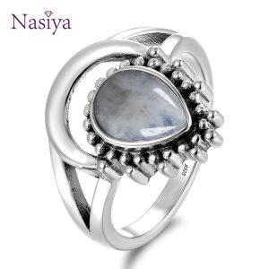 New Vintage 925 Silver Jewelry Finger Rings For Men Women 7x9MM Water Drop Natural Moonstones Weeding Innrech Market.com