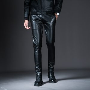 New Winter Mens Skinny Biker Leather Pants Fashion Faux Leather Motorcycle Trousers For Male Stage Club Innrech Market.com