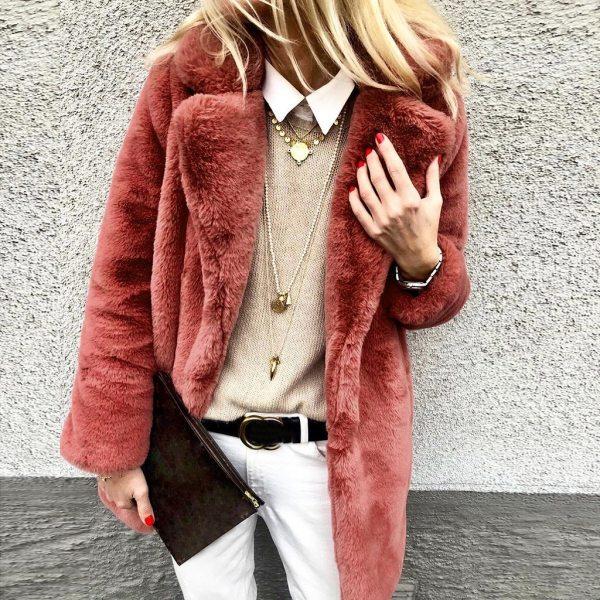 New Winter Womens Faux Fur Long Outwear Coat Warm Fleece Thick Jacket Ladies Long Plus Size New Winter Womens Faux Fur Long Outwear Coat Warm Fleece Thick Jacket Ladies Long Plus Size Cardigan Overcoat